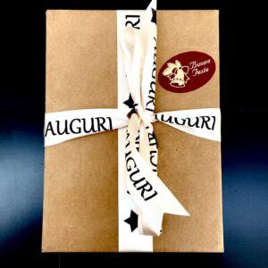 Pacco regalo con nastro stampato personalizzato